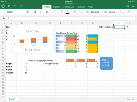 Excel on iPad